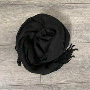 100% Pashmina Black Scarf w/ Tassel Ends